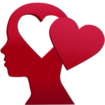 mente: Una ni�a con orificio de espacio de copia de forma de coraz�n en su cabeza y San Valent�n el amor en su mente
