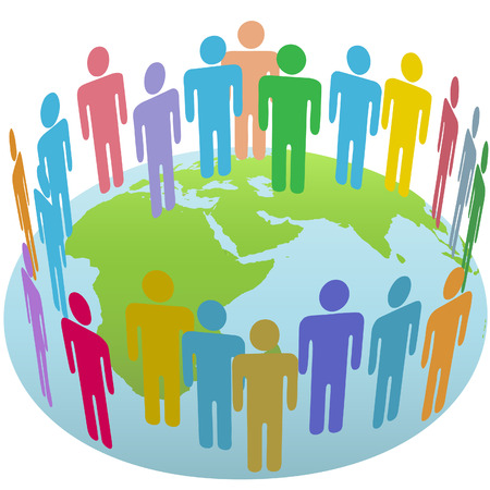 world group: Population of Earth people meet in a world circle on a globe Eastern Hemisphere