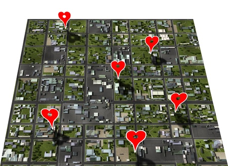 suburbia: Placemark favorite places in your town map with style heart shape place markers Stock Photo