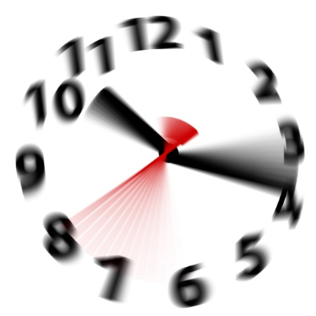 time of the day: Time flies by fast as hands blur spinning around a white clock face
