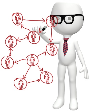 Intelligent manager drawing diagram of business social network human resources people plan Stock Photo