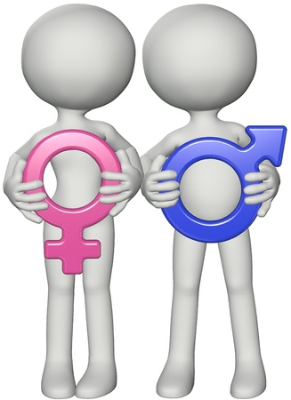 Boy and girl male female couple hold pink and blue 3D gender sex symbols in front Stock Photo - 8661321