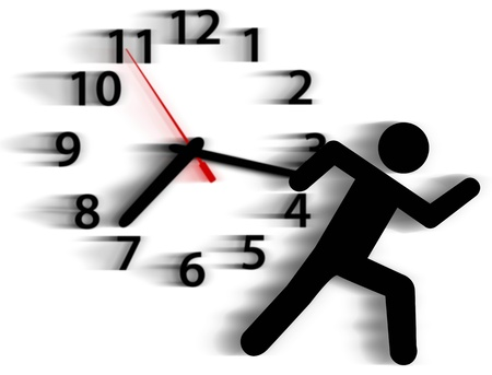 running late: Person symbol in a rush runs against a clock in a race with time