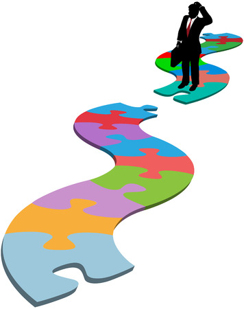 missing piece: Puzzled business person silhouette find searches for missing piece in jigsaw puzzle path Illustration