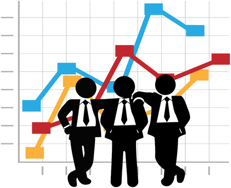 sales graph: Three man team of sales people stand in front of a business profit growth success chart