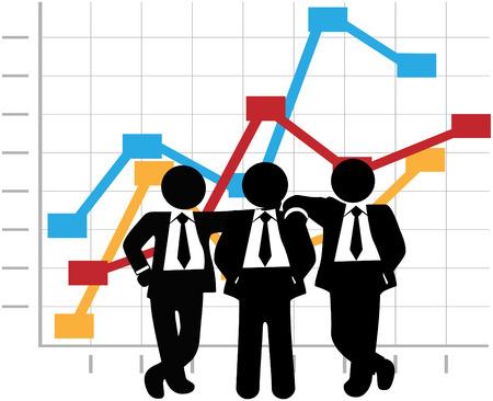 grafico vendite: Tre uomo squadra dello stand di vendite di persone nella parte anteriore di un grafico di successo aziendale crescita di profitto Vettoriali