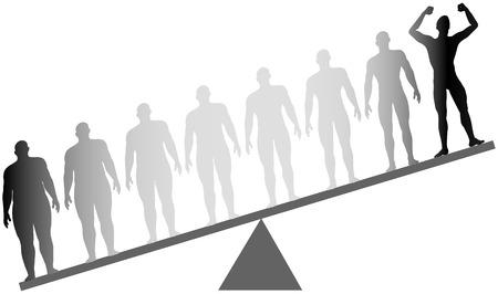 Hombre de silueta celebra la dieta y el ejercicio de la grasa a la adecuación en antes y después de la serie a escala
