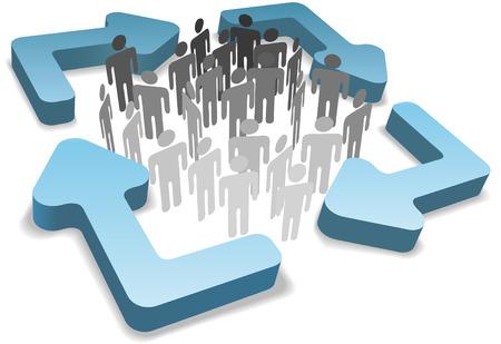 Strichmännchen Symbol Menschen innerhalb vier abgerundeten 3D Prozess Managementsystem oder Pfeile zu recyceln  Standard-Bild - 8661317