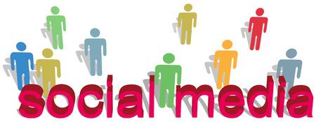 Stok figuur mensen in verschillende kleuren symbolen staan achter sociale media woorden als rode 3D-letters