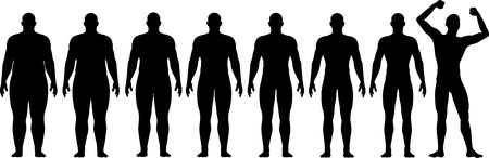 weight loss man: A man diets and exercises from fat to fitness in before and after series frontal view Illustration