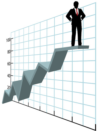 A business man investor or executive stands up on top of a company graph growth profit chart Ilustracja