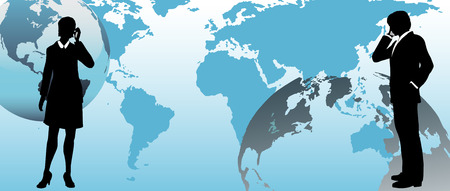 International business people communicate via global link on a connected world background Illustration