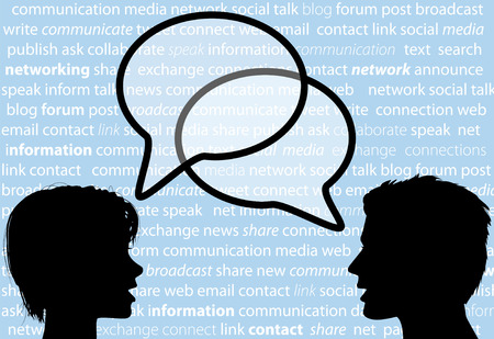 Two people share social network words in media speech bubbles on a text background. Illustration