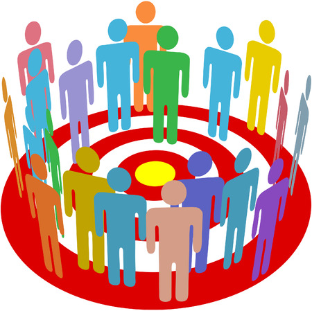 Group of consumers stand in a circle on a target as a symbol of targeted marketing