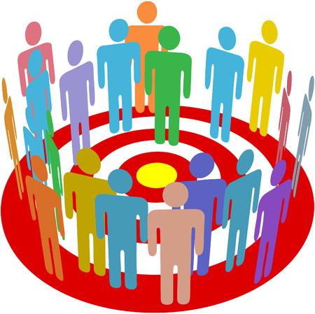 bullseye: Gruppe der Verbraucher stehen in einem Kreis auf ein Ziel als Symbol der gezieltem marketing