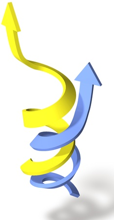 two object: Two intertwined arrows spiral upward as a symbol of teaming up to success Stock Photo