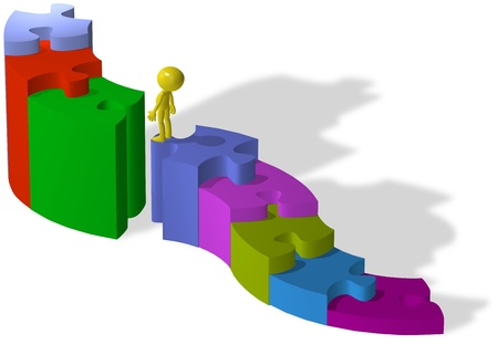 missing piece: Persona sube pasos de rompecabezas para encontrar una soluci�n a la falta el problema de la pieza Foto de archivo