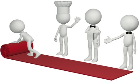 hotel worker: A chef waiter and concierge roll out a 3D hospitality red carpet for a hotel resort or restaurant to welcome a guest Stock Photo