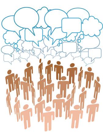 Bedrijf, club of andere groep van mensen praten onder een wolk van sociale media kopiëren ruimte tekstballonnen Stock Illustratie