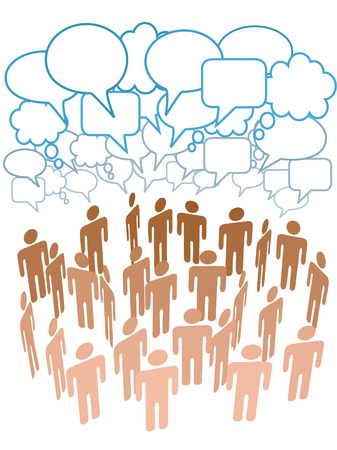 other space: Company club or other group of people talk under a cloud of social media copy space speech bubbles Illustration