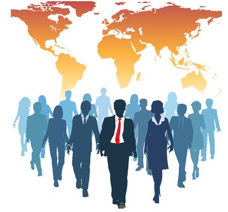 follow the leader: Global human resources business mensen werken team lopen vooruit van de wereld kaart Stock Illustratie