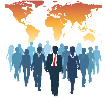 corporation: Global human resources business people work team walk forward from world map