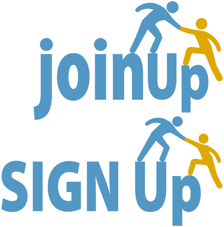 trainees: Member helps a person sign up to join a group company or website icons