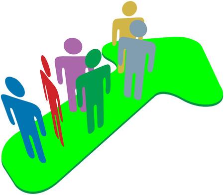 Équipe de personnes debout pointant vers le succès et la flèche de symbole de progresser