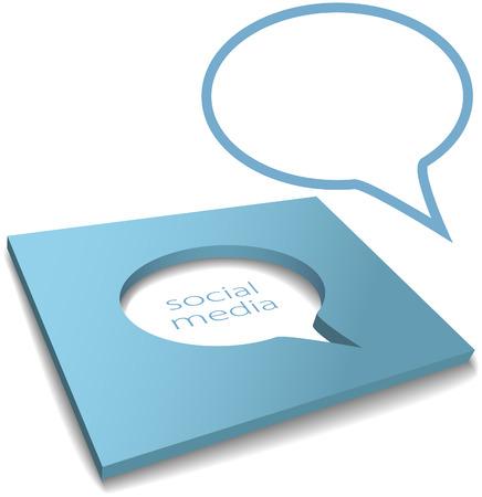Social media speech bubble cut out of a box as negative copy space Vector