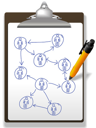 Pen drawing a business diagram of human resources network plan on a clipboard  Stock Vector - 8661359