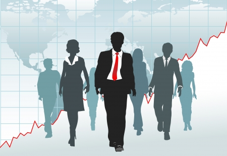 Global Business People walk from a financial growth chart on world map Vectores