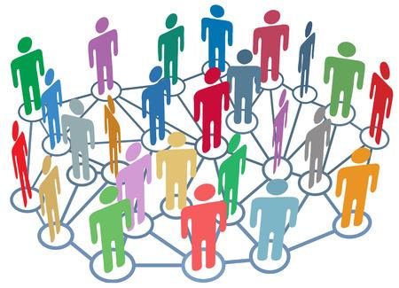 회사 클럽 또는 다른 많은 그룹의 사람들이 바쁜 소셜 미디어 네트워크에서 이야기합니다. 일러스트