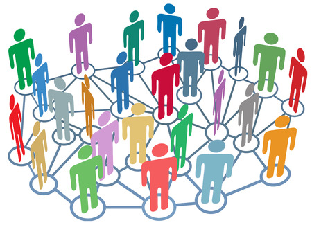 Bedrijf, club of andere groep van vele mensen praten op een drukke sociale media netwerk Stock Illustratie