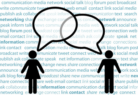 talking: Two symbol people share social network words in media speech bubbles on a text background