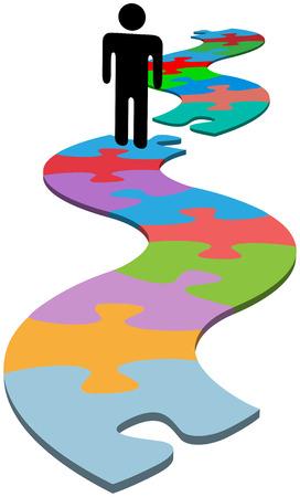 puzzle pieces: Person gestoppt durch fehlende Puzzleteil versucht L�sung zum Weiterleiten von Fortschritt zu finden  Illustration