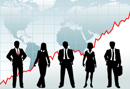 advisers: Row of five business investment counselors stand in front of global growth chart world map