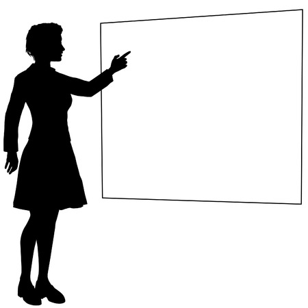 Business woman speaker or teacher points at a whitespace sign board copy space background