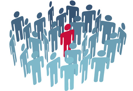 A key person leader or speaker stands in the middle of a company or group of people