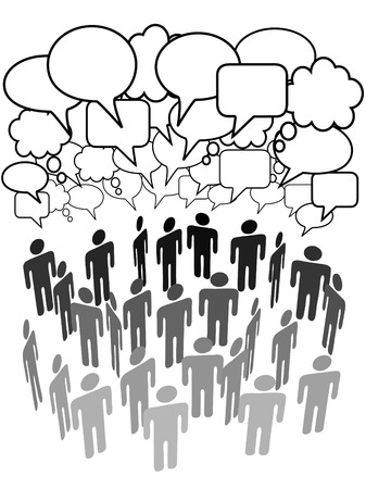 Company club association or other group of people talk under a cloud of social media copy space speech bubbles