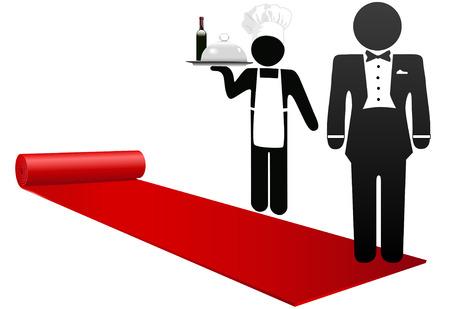 serveur avec plateau: Hotel concierge et restaurant chef roll out le tapis rouge pour accueillir des invit�s