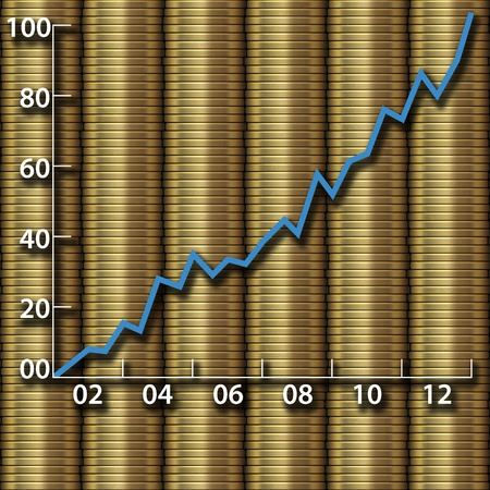 yearly: Chart of annual investment and economic growth as graph on gold coins Stock Photo