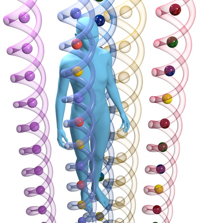 the inheritance: Unisex 3D person among translucent human DNA helix shapes Stock Photo