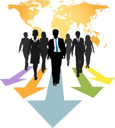 follow the leader: Groep van wereldwijde business mensen lopen vooruit op vooruitgang pijlen van een kaart van de wereld