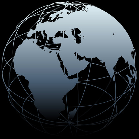 Map of Earth on a globe symbol with East West lines on a black background Illustration