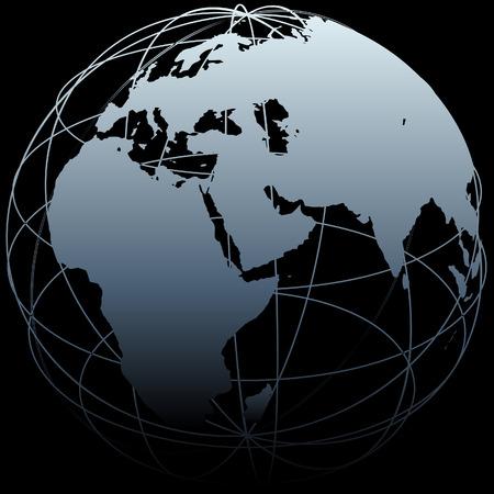 Kaart van de aarde op een wereldbol symbool met Oost West lijnen op een zwarte achtergrond