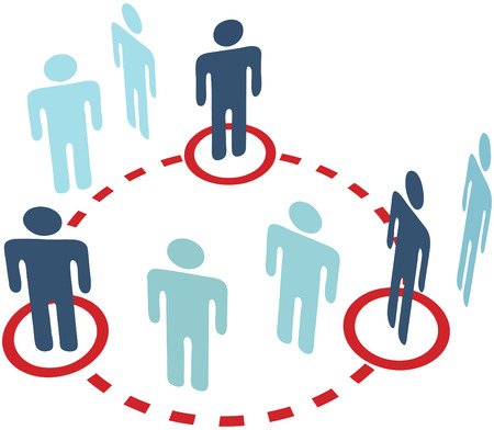 Three key insider people connect in a social media network circle connection Illustration