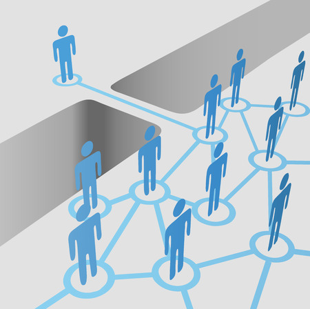 connection: People bridge a gap to connect and join network nodes in a merger team