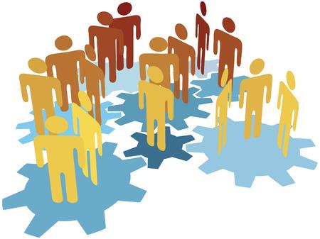 Team netwerk mensen verbinding maken met innoveren op technologie uitvinding gears