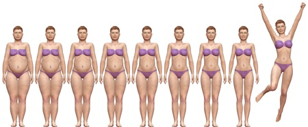 Woman diets from fat to fitness in before after frontal 3D render series