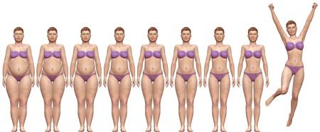mujer gorda: Serie de procesamiento de las dietas de la mujer de la grasa aptitud en antes despu�s de 3D frontal Foto de archivo